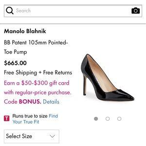 Manolo Blahnik Patent Navy Heels